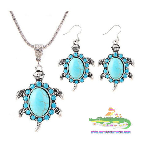 Antique-look Turquoise Turtle Pendant with Chain and Matching Earrings - Cute Creatures Animal Jewellery
