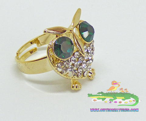 Adjustable Little Owl Ring - Cute Creatures Animal Jewellery