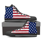 Men's and Women's American Flag High Top Canvas Shoes