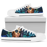 Calavera Girl Low Top Canvas Shoe - White - Turquoise