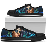 Calavera Girl Low Top Canvas Shoe - Black - Turquoise