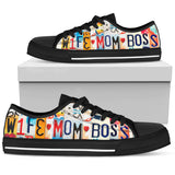 Wife Mom Boss Low Top Black