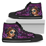Calavera Girl High Top Canvas Shoe Black - Express Shipping