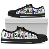 Autism Mom - Women Low Top Canvas Shoe -Black