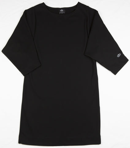 Faustina Dress - a modest, comfortable, little black dress, that is part of a Catholic apparel line