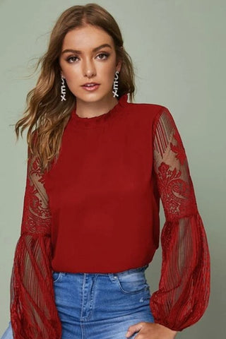 Lala Lace Top- Red