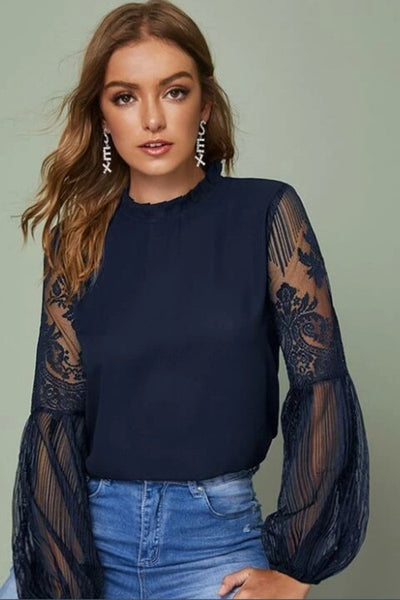 Lala Lace Top-Navy