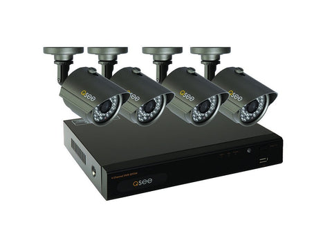 Q-See QT534-4E4-5 4 Channel Full D1 Surveillance System with 4-960H/700TVL Cameras and Pre-Installed 500GB Hard Drive