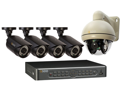 Q-See QT5682-5L7-1 8-Channel 960H DVR with 4 High-Resolution Cameras,1 Pan-Tilt Camera and Pre-Installed 1 TB Hard Drive (Black)