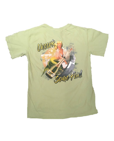 Champagne Mermaid Pocketed T-Shirt -Light Sage