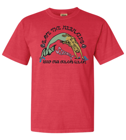 Save the Mermaid Glitter Tee - Watermelon