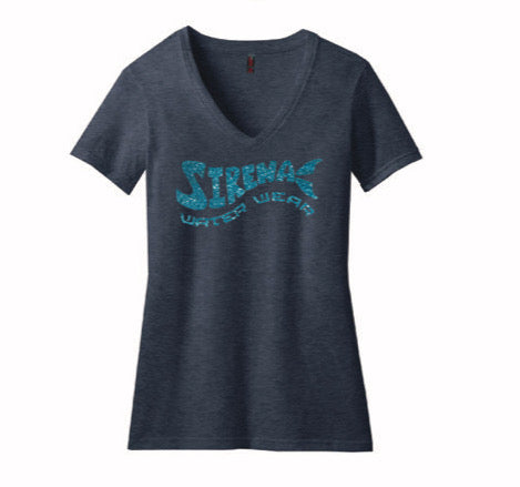 Original Sirena V-Neck - Heather Navy and Aqua Glitter
