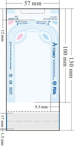 "MULTI-PARAMETER SELF-SEALING STERILIZATION POUCHES (8 sizes) - ATOMO Dental, Inc. 2-1/4""x5"" (57mm x 130mm)"
