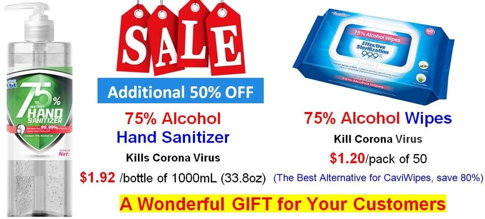 New Year coupon, 75%Alcohol Hand Sanitizer, Face Mask, Isolation Gown, Nitrile Gloves, Latex Gloves, Alcohol Wipes