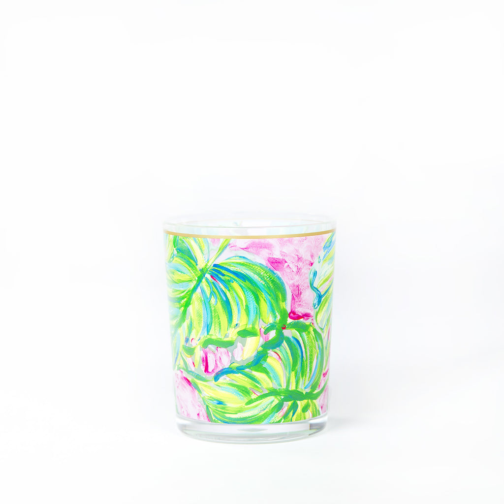 Lilly Pulitzer Acrylic Lo-Ball Glass Set, Painted Palm