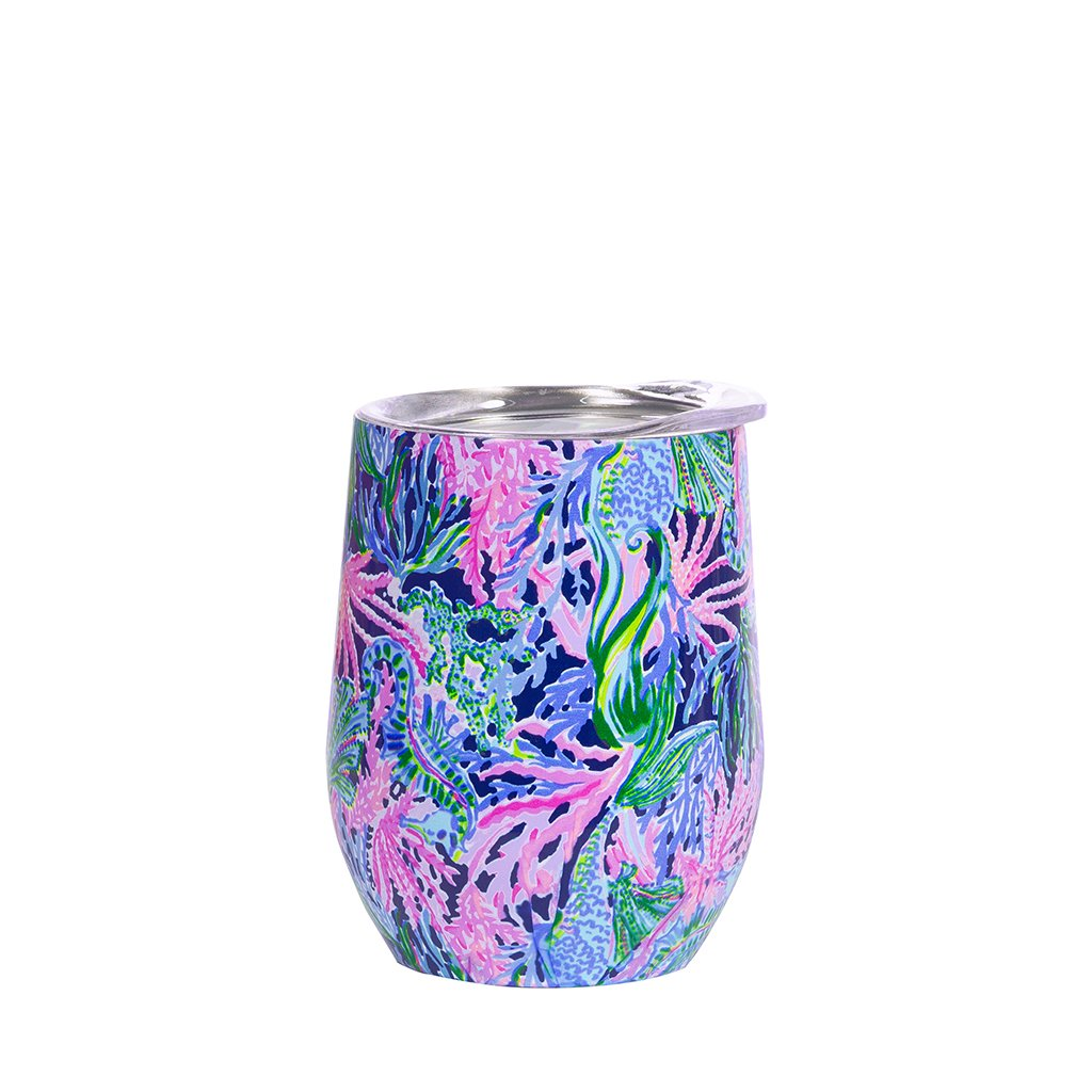 Lilly Pulitzer Stainless Steel Wine Glass with Lid, Bringing Mermaid Back (12 oz)