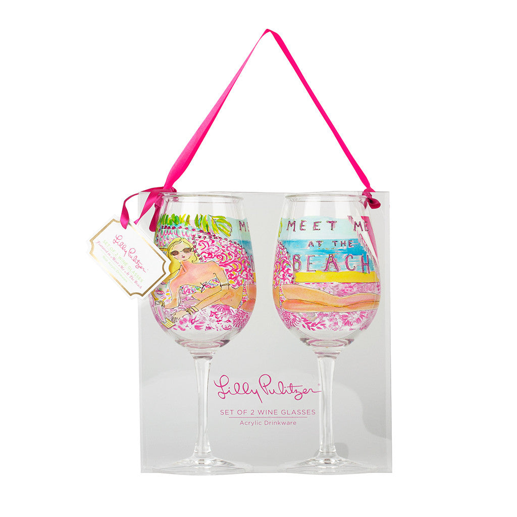 Lilly Pulitzer Acrylic Wine Glasses - Meet Me At the Beach - lifeguard-press