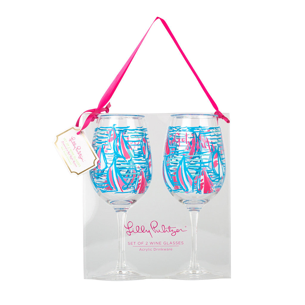 Lilly Pulitzer Acrylic Wine Glasses - Red Right Return - lifeguard-press
