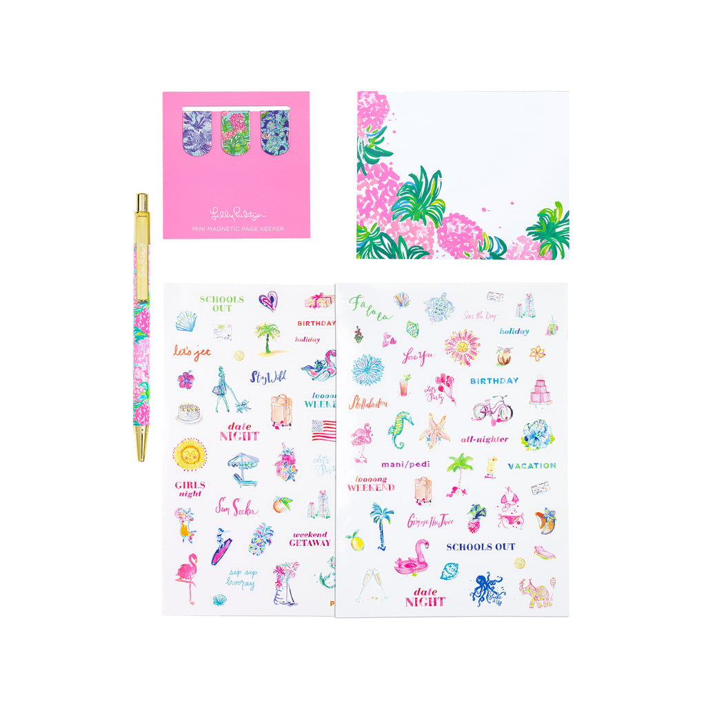 Lilly Pulitzer Agenda Accessory Pack, Pineapple Shake