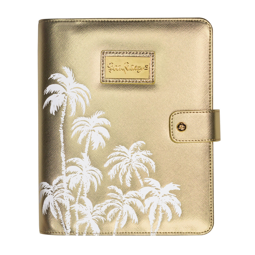 Lilly Pulitzer Agenda Folio, Gold Palms