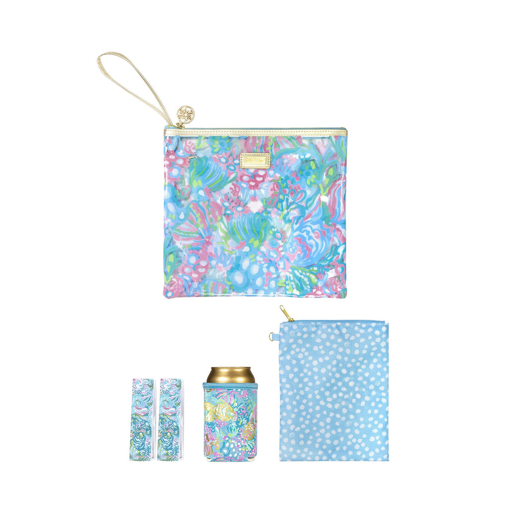 Lilly Pullitzer Beach Day Pouch, Aqua La Vista