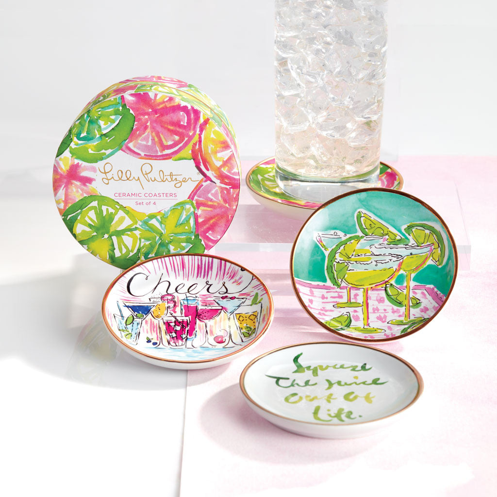 Lilly Pulitzer Ceramic Coaster Set - Cheers - lifeguard-press - 2