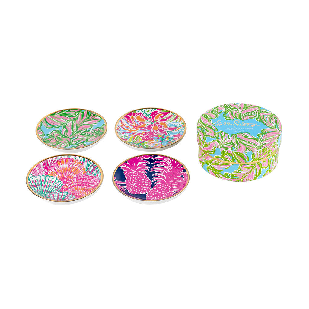 Lilly Pulitzer Ceramic Coaster Set - In the Bungalows - lifeguard-press