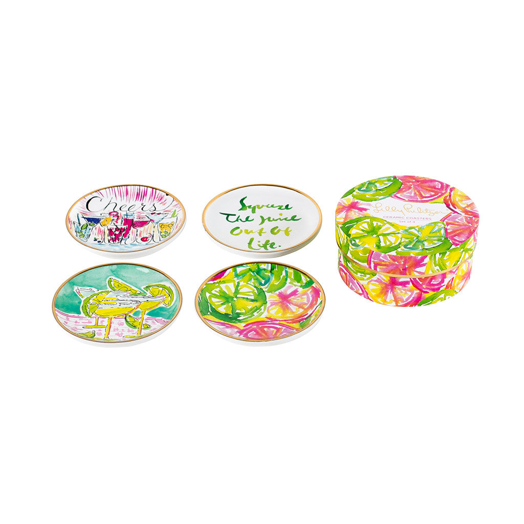 Lilly Pulitzer Ceramic Coaster Set - Cheers - lifeguard-press - 1