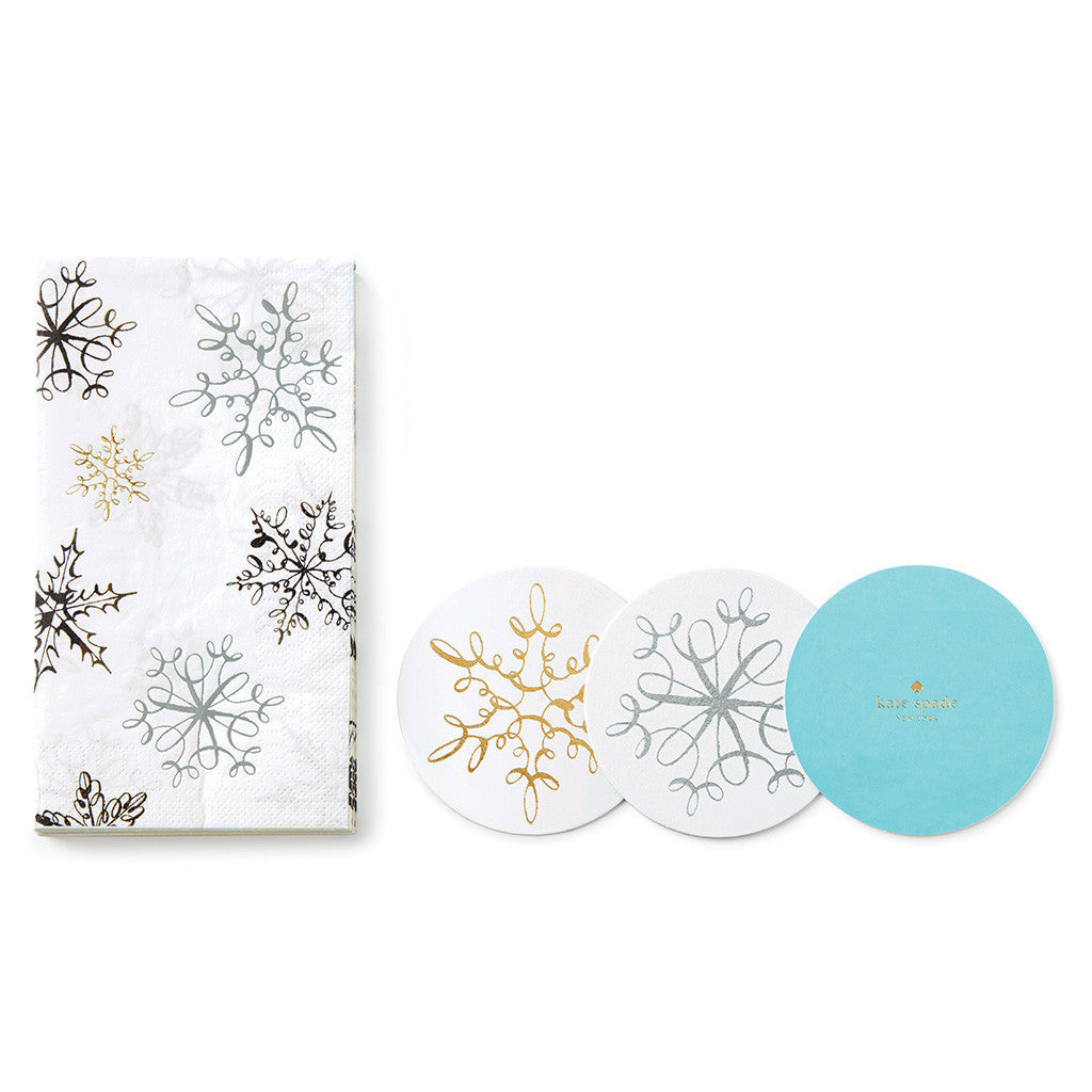 kate spade new york snowflakes coaster and napkin set - lifeguard-press
