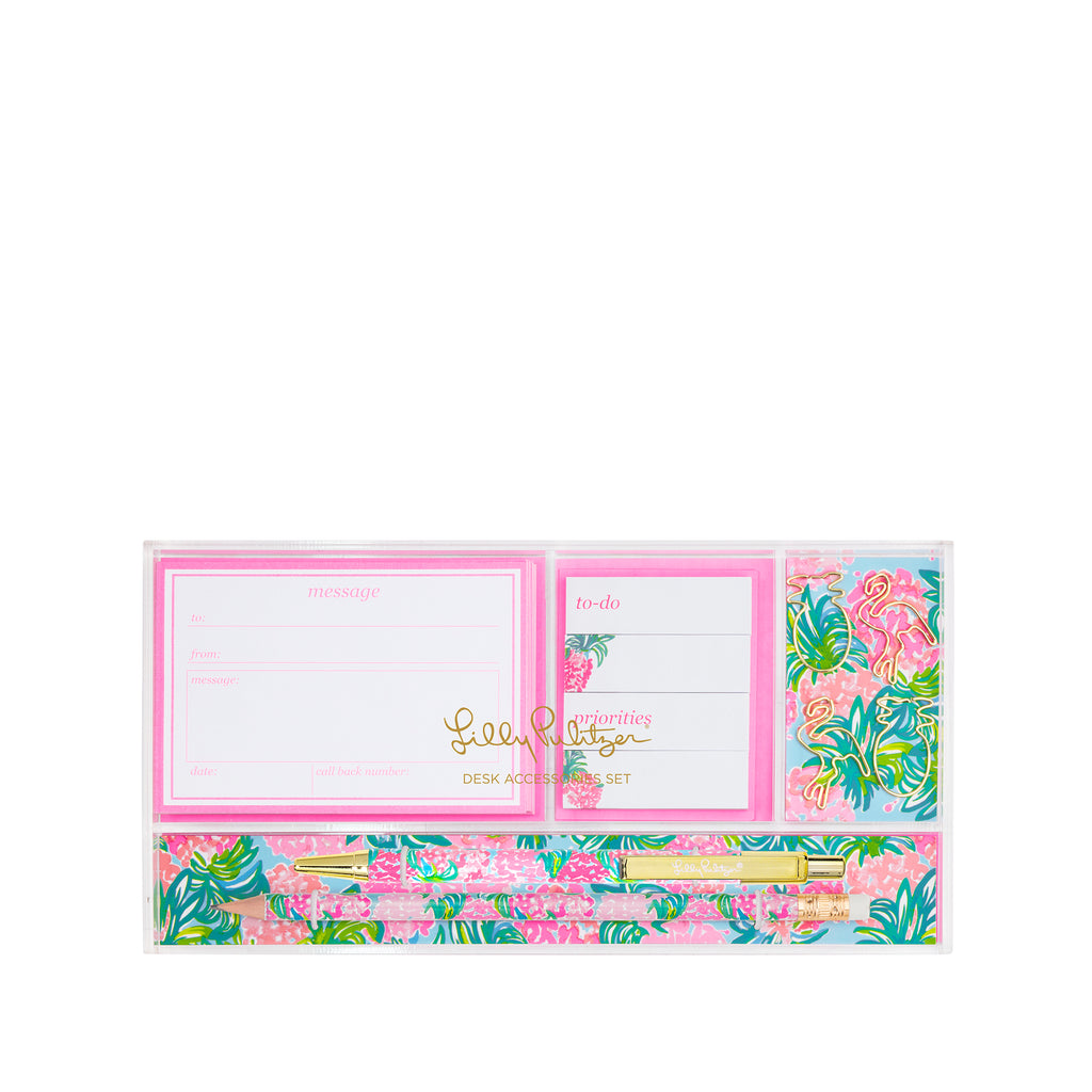 Lilly Pulitzer Desk Accessoies Set, Pineapple Shake