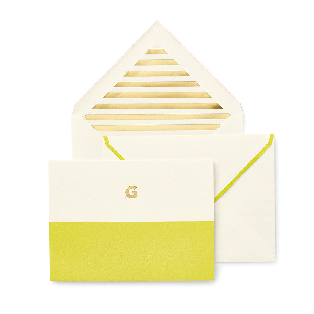 kate spade new york dipped initial foldover notes - initial G