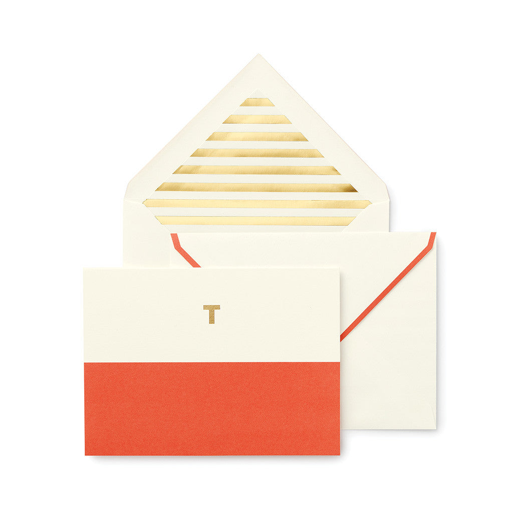 kate spade new york dipped initial foldover notes - initial T