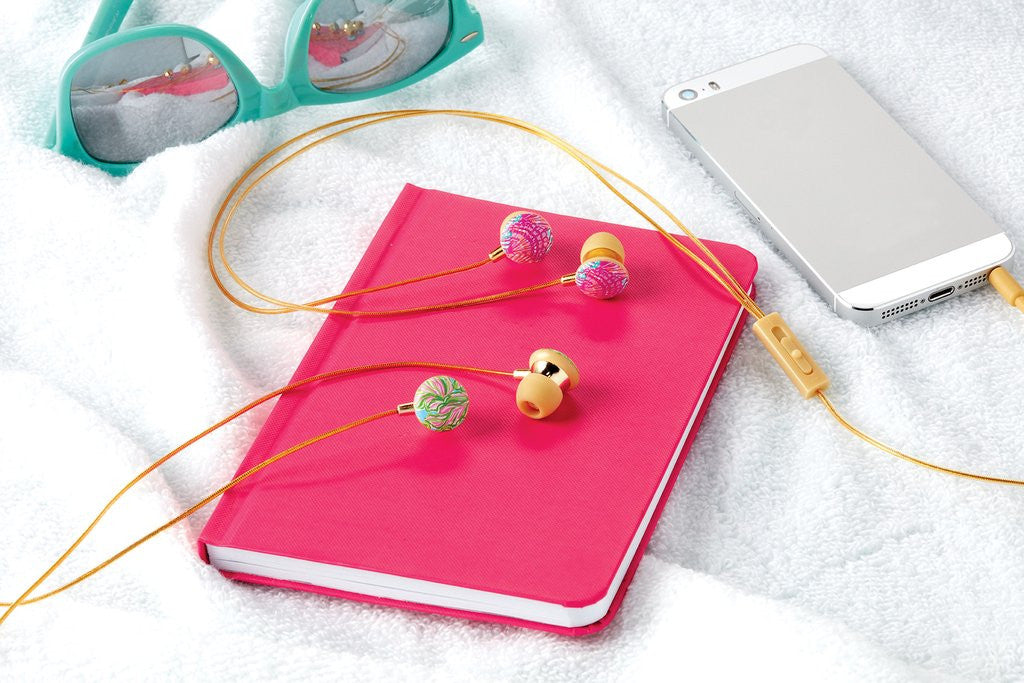 Lilly Pulitzer Ear Buds with Gold Cord - In the Bungalows - lifeguard-press - 2