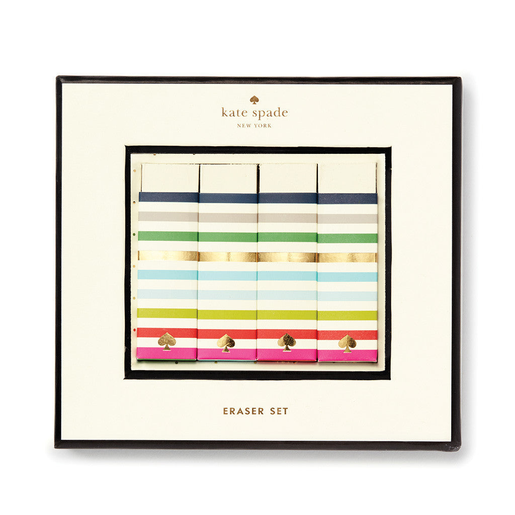 kate spade new york candy stripe eraser set - lifeguard-press