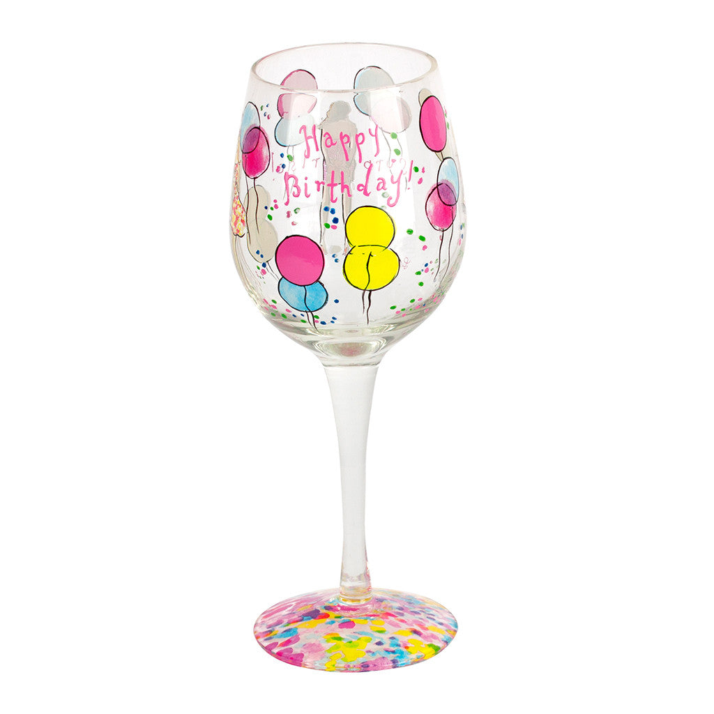 Lilly Pulitzer Hand Painted Wine Glass - Happy Birthday - lifeguard-press - 1