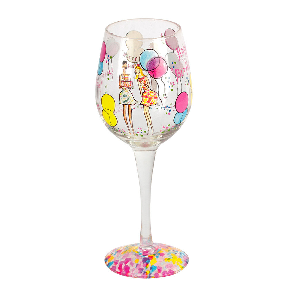 Lilly Pulitzer Hand Painted Wine Glass - Happy Birthday - lifeguard-press - 2