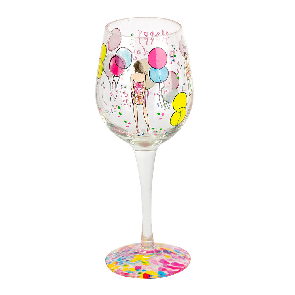 Lilly Pulitzer Hand Painted Wine Glass - Happy Birthday - lifeguard-press - 3
