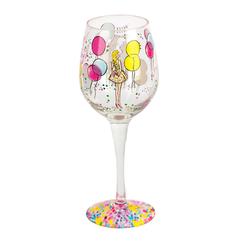 Lilly Pulitzer Hand Painted Wine Glass - Happy Birthday - lifeguard-press - 4