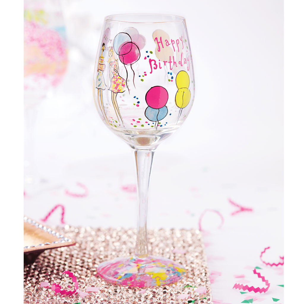 Lilly Pulitzer Hand Painted Wine Glass - Happy Birthday - lifeguard-press - 6