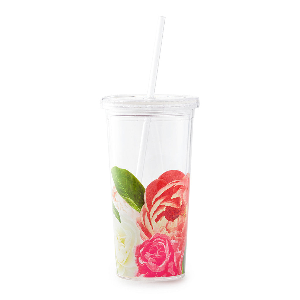 kate spade new york tumbler with straw 20 oz - floral - lifeguard-press