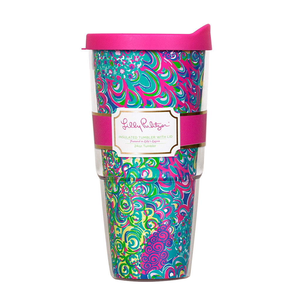 Lilly Pulitzer Insulated Tumbler with Lid - Lilly's Lagoon - lifeguard-press - 1