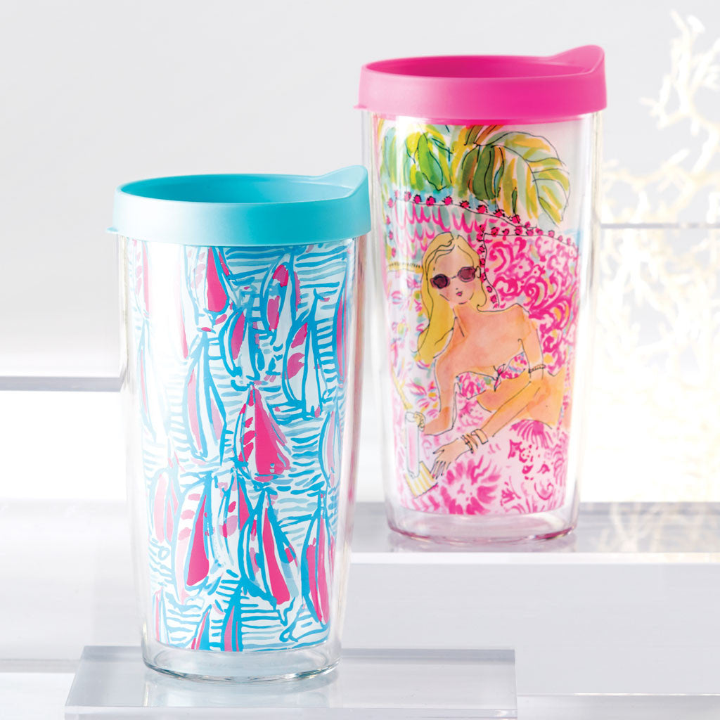 Lilly Pulitzer Insulated Tumbler with Lid Set - Shrimply Chic / Oh Shello - lifeguard-press - 2