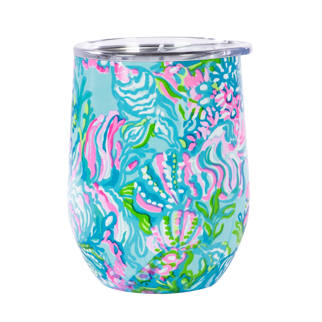 Lilly Pulitzer Stainless Steel Wine Glass With Lid, Aqua la Vista