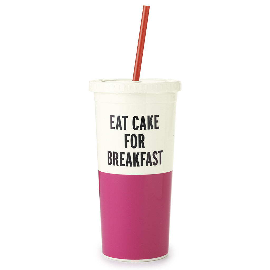 kate spade new york tumbler with straw 20 oz - eat cake for breakfast - lifeguard-press