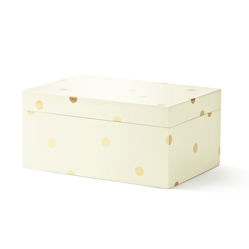 Kate Spade New York Lacquer Jewelry Box   Gold Scatter Dot