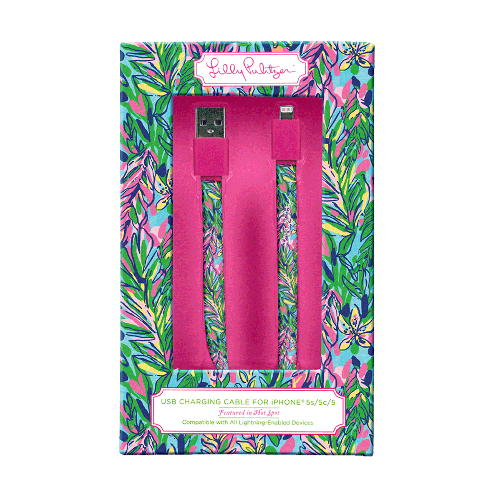 Lilly Pulitzer iPhone Charging Cord (8-pin) - Hot Spot - lifeguard-press