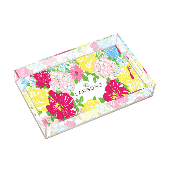 Lilly Pulitzer Personalized Large Tray - Heritage Floral - lifeguard-press