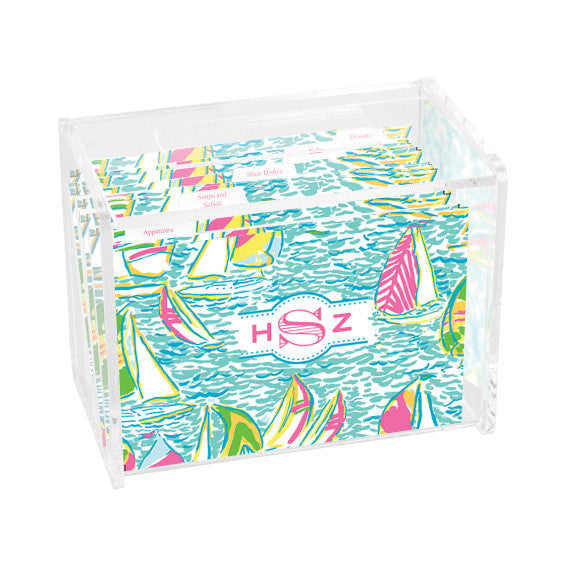 Lilly Pulitzer Personalized Recipe Box - Ugotta Regatta - lifeguard-press - 1