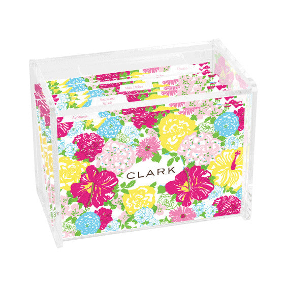 Lilly Pulitzer Personalized Recipe Box - Heritage Floral - lifeguard-press - 1