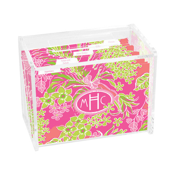 Lilly Pulitzer Personalized Recipe Box - Luscious - lifeguard-press - 1